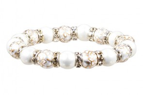 WEDDING BELLS PETITE BRACELET - CLEAR SWAROVSKI CRYSTALS by Angela Moore - Hand Painted, Beaded Bracelet