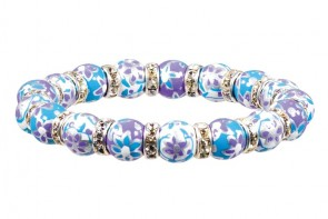 PURPLE PASSION PETITE BRACELET - CLEAR SWAROVSKI CRYSTALS by Angela Moore - Hand Painted, Beaded Bracelet