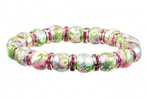 TENNIS, ANYONE? PETITE BRACELET - CLEAR SWAROVSKI CRYSTALS by Angela Moore - Hand Painted, Beaded Bracelet
