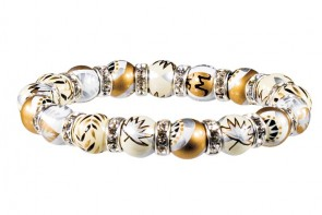 CAFE AU LAIT PETITE BRACELET - CLEAR SWAROVSKI CRYSTALS by Angela Moore - Hand Painted, Beaded Bracelet