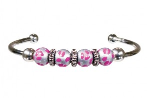 LEOPARD LIFE PINK BANGLE by Angela Moore - Hand Painted, Beaded Bengal Bracelet