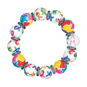 AUTISM AWARENESS CLASSIC BRACELET - SILVER  by Angela Moore - Hand Painted, Beaded Bracelet