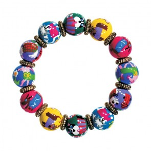 PAMPERED POOCH CLASSIC BRACELET - GOLD by Angela Moore - Hand Painted, Beaded Bracelet