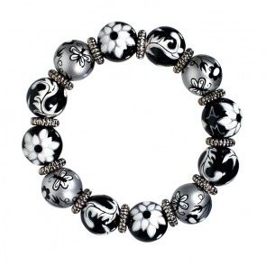 SPICE MARKET CLASSIC BRACELET - SILVER by Angela Moore - Hand Painted, Beaded Bracelet