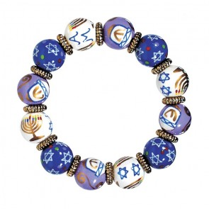 HAPPY HANUKKAH CALSSIC BRACELET - GOLD by Angela Moore - Hand Painted, Beaded Bracelet