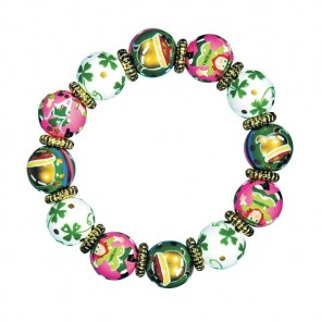LUCKY LEPRECHAUN CLASSIC BRACELET - GOLD by Angela Moore - Hand Painted, Beaded Bracelet