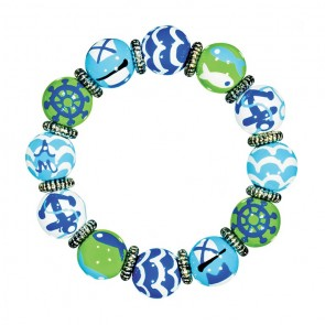 NAUTICAL BREEZE BLUE GREEN CLASSIC BRACELET - SILVER by Angela Moore - Hand Painted, Beaded Bracelet