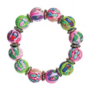 FANCY FLIPS CLASSIC BRACELET - SILVER by Angela Moore - Hand Painted, Beaded Bracelet