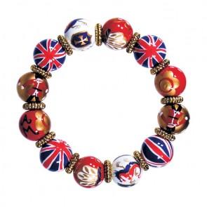 LONDON VIBE CLASSIC BRACELET - GOLD by Angela Moore - Hand Painted, Beaded Bracelet
