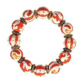 ORANGE CRUSH CLASSIC BRACELET - GOLD by Angela Moore - Hand Painted, Beaded Bracelet
