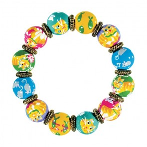 KITTY WITTY'S 9 LIVES CLASSIC BRACELET - GOLD by Angela Moore - Hand Painted, Beaded Bracelet