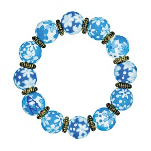 COOL CAPRI CLASSIC BRACELET - GOLD by Angela Moore - Hand Painted, Beaded Bracelet