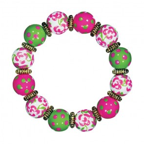 PREPPY PERFECT CLASSIC BRACELET - GOLD by Angela Moore - Hand Painted, Beaded Bracelet