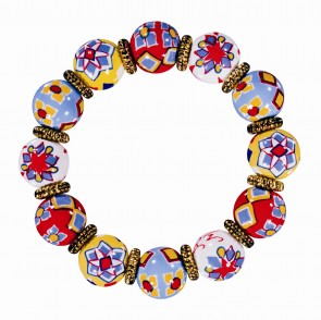TILE FLOWER MULTI CLASSIC BRACELET W/GOLD