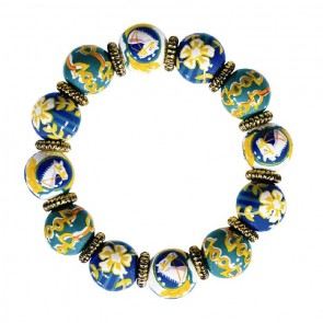 POLO CLUB CLASSIC BRACELET - GOLD by Angela Moore - Hand Painted, Beaded Bracelet