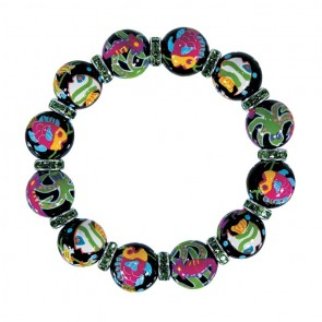 HOT TROPICS CLASSIC BRACELET - PERIDOT SWAROVSKI CRYSTALS by Angela Moore - Hand Painted, Beaded Bracelets