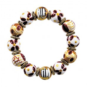 COFFEE NUT CLASSIC BRACELET - GOLD by Angela Moore - Hand Painted, Beaded Bracelet