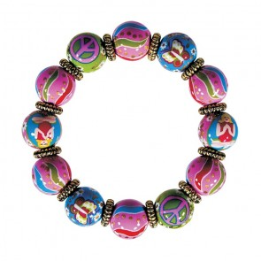 GOOD KARMA CLASSIC BRACELET - GOLD by Angela Moore - Hand Painted, Beaded Bracelet
