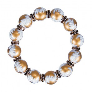 SUN SHADOW CLASSIC BRACELET - TOPAZ SWAROVSKI CRYSTALS by Angela Moore - Hand Painted, Beaded Bracelets