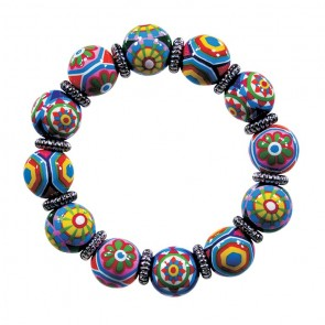MURANO MAGIC CLASSIC BRACELET - SILVER by Angela Moore - Hand Painted, Beaded Bracelet