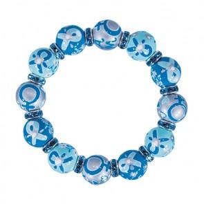 OVARIAN CANCER NATIONAL ALLIANCE CLASSIC BRACELET - AQUA SWAROVSKI CRYSTALS by Angela Moore - Hand Painted, Beaded Bracelets