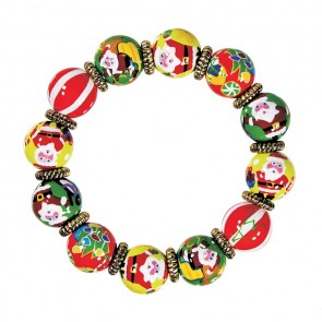 SANTA'S SURPRISE CLASSIC BRACELET - GOLD by Angela Moore - Hand Painted, Beaded Bracelet