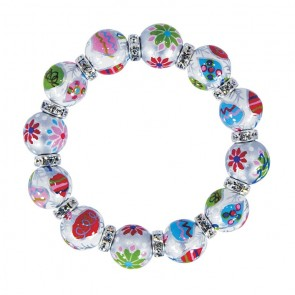 TINSEL TOWN CLASSIC BRACLET - CLEAR SWAROVSKI CRYSTALS by Angela Moore - Hand Painted, Beaded Bracelets