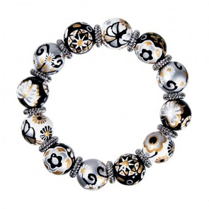 TWILIGHT SERENADE CLASSIC BRACELET - SILVER by Angela Moore Hand Painted, Beaded Bracelets