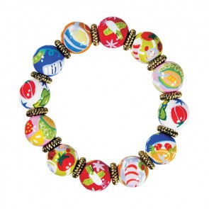 BON APPETIT CLASSIC BRACELET - GOLD by Angela Moore - Hand Painted, Beaded Bracelet
