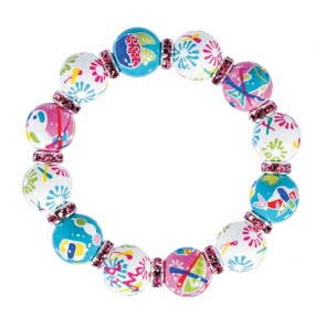 SUSHI SAMBA CLASSIC BRACELET - LT PINK SWAROVSKI CRYSTALS by Angela Moore - Hand Painted, Beaded Bracelets
