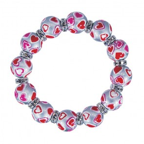 LOVE & KISSES CLASSIC BRACELET - CLEAR SWAROVSKI CRYSTALS by Angela Moore - Hand Painted, Beaded Bracelets