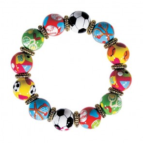 SPORTY GIRL CLASSIC BRACELET - GOLD by Angela Moore - Hand Painted, Beaded Bracelet