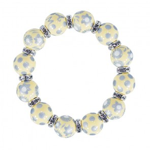 GORGEOUS GLOW CLASSIC BRACELET - CLEAR SWAROVSKI CRYSTALS by Angela Moore - Hand Painted, Beaded Bracelets