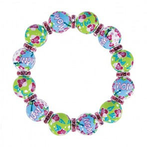 MAMMA MIA CLASSIC BRACELET - LT ROSE SWAROVSKI CRYSTALS by Angela Moore - Hand Painted, Beaded Bracelets