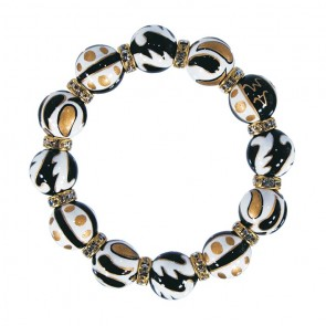 BLACK CRUSH CLASSIC BRACELET - CLEAR SWAROVSKI CRYSTALS by Angela Moore - Hand Painted, Beaded Bracelets