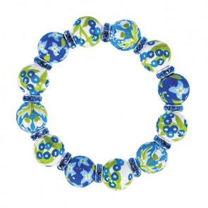 SUMMERTIME BLUES CLASSIC BRACELET - LT SAPPHIRE SWAROVSKI CRYSTALS by Angela Moore - Hand Painted, Beaded Bracelets