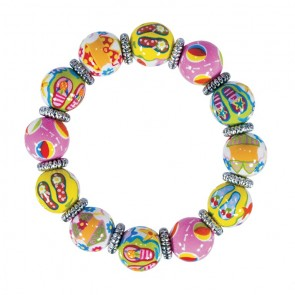 FUN FLIPS CLASSIC BRACELET - SILVER by Angela Moore - Hand Painted, Beaded Bracelet