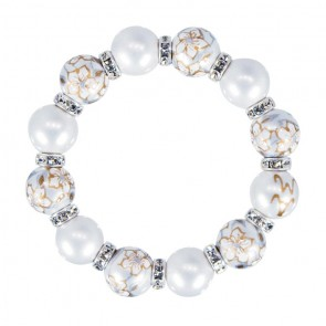 WEDDING BELLS CLASSIC BRACLET - CLEAR SWAROVSKI CRYSTALS by Angela Moore - Hand Painted, Beaded Bracelets