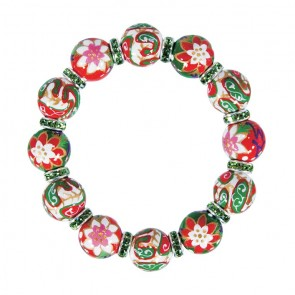 PERFECT POINTSETTIAS CLASSIC BRACELET - PERIDOT SWAROVSKI CRYSTALS by Angela Moore - Hand Painted, Beaded Bracelets