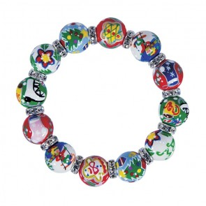 CHRISTMAS MEMORIES CLASSIC BRACELET - CLEAR SWAROVSKI CRYSTALS by Angela Moore - Hand Painted, Beaded Bracelets