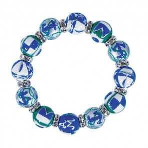 SAIL AWAY CLASSIC BRACELET - CLEAR SWAROVSKI CRYSTALS by Angela Moore - Hand Painted, Beaded Bracelets