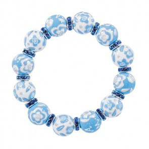 BLUE BELLE CLASSIC BRACELET - LT SAPPHIRE SWAROVSKI CRYSTALS by Angela Moore - Hand Painted, Beaded Bracelets