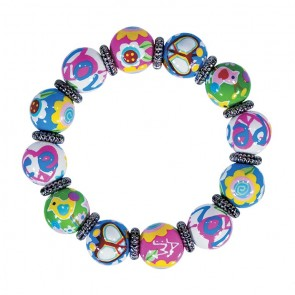 PEACE & LOVE CLASSIC BRACELET - SILVER by Angela Moore - Hand Painted, Beaded Bracelet