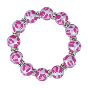 LEOPARD LIFE PINK CLASSIC BRACELET - CLEAR SWAROVSKI CRYSTALS by Angela Moore - Hand Painted, Beaded Bracelets