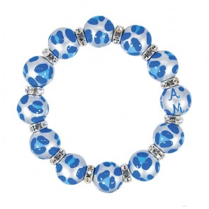 LEOPARD LIFE BLUE CLASSIC BRACELET - CLEAR SWAROVSKI CRYSTALS by Angela Moore - Hand Painted, Beaded Bracelets