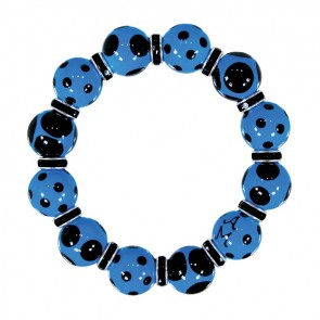 DRAMA DOTS BLUE BLACK CLASSIC BRACELET - JET SWAROVSKI CRYSTALS by Angela Moore - Hand Painted, Beaded Bracelets