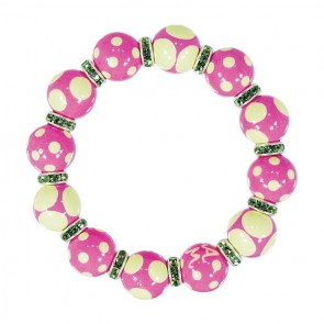 DRAMA DOTS PINK GREEN CLASSIC BRACELET - PERIDOT SWAROVSKI CRYSTALS by Angela Moore - Hand Painted, Beaded Bracelets