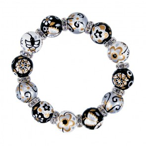 TWILIGHT TWINKLE CLASSIC BRACELET - CLEAR SWAROVSKI CRYSTALS by Angela Moore - Hand Painted, Beaded Bracelets