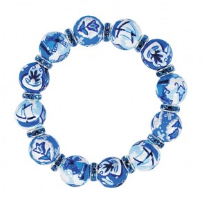 DELFT DELIGHT BLUE CLASSIC BRACELET - CLEAR SWAROVSKI CRYSTALS by Angela Moore - Hand Painted, Beaded Bracelets