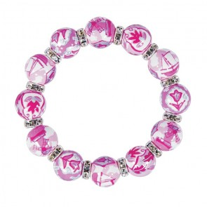 DELFT DELIGHT PINK CLASSIC BRACELET - CLEAR SWAROVSKI CRYSTALS by Angela Moore - Hand Painted, Beaded Bracelets